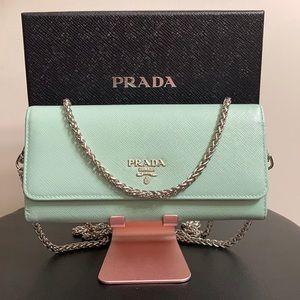 Prada Saffiano Leather Wallet on Chain